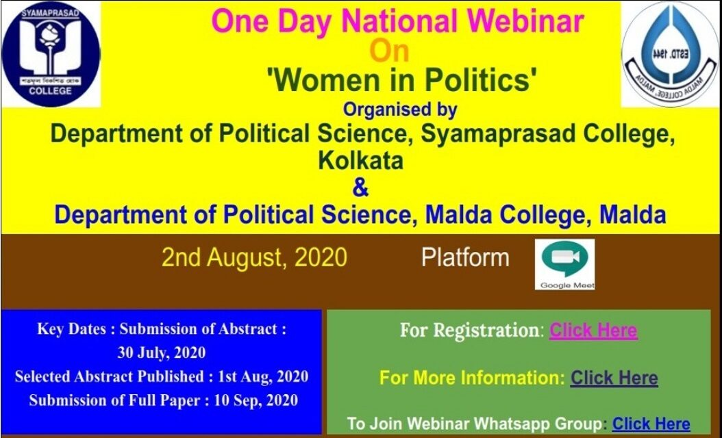 "One Day National Webinar on ""Women in Politics"""